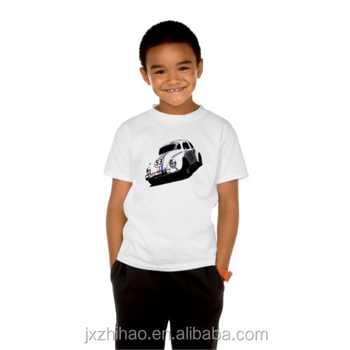 car printing fashion plain round neck fine cotton t-shirts for kids