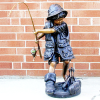 Back Yard Decoration Bronze Little Boy Fishing Sculpture