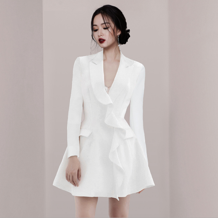 2019 spring new European stand lapel long-sleeved waist slim ladies dress фото
