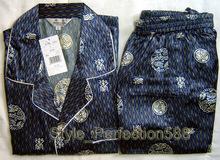 Blue Chinese Men's Silk Rayon 2pc Nightwear Robe sleepwear Pyjamas Sets Bath Gown S M L XL XXL XXXL SH017