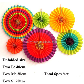 wedding decorations hanging paper fan 6 pieces set fiesta paper fans decoration 6 colorful yellow orange