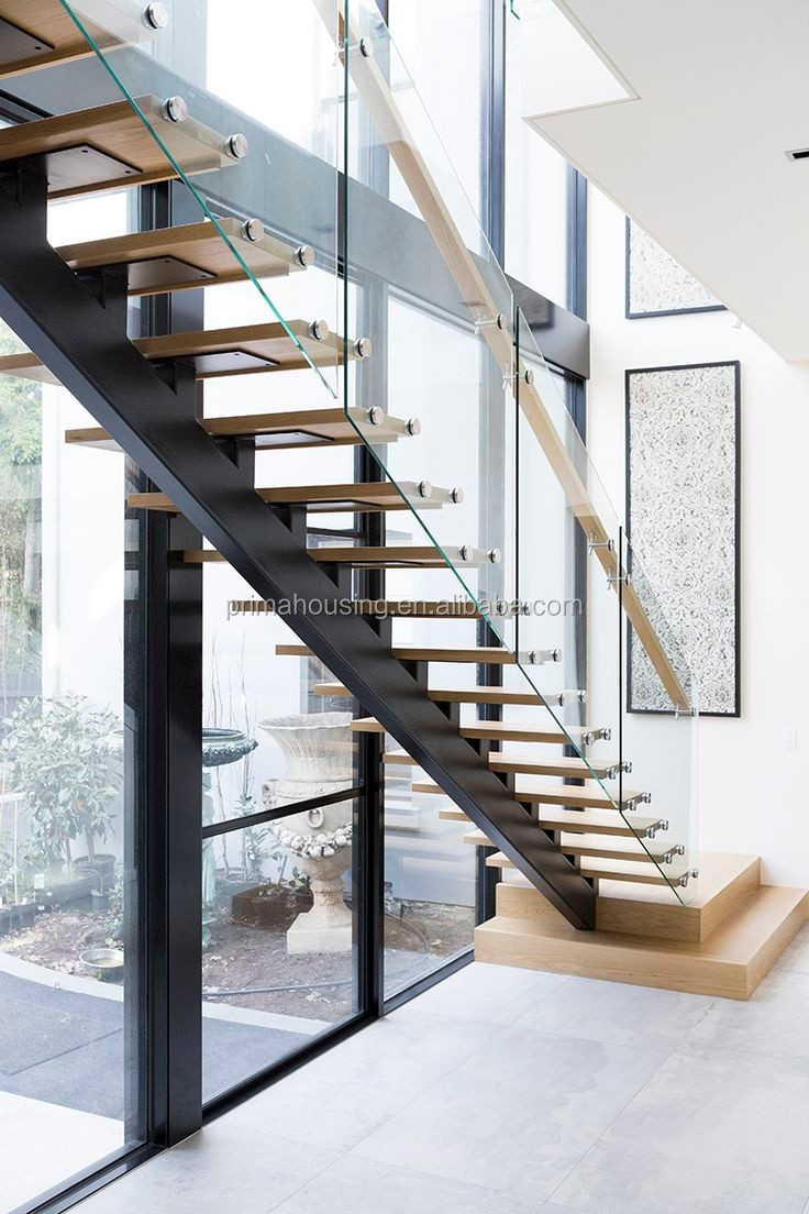 Steel grill design for stairs - Interior Galvanized Steel Grill Design Straight Stairs With Solid Wood Steps
