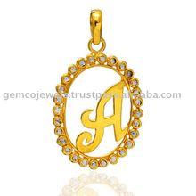 """A"" Initial Alphabet Solid 18kt Yellow Gold Rose Cut Diamond Designer Bezel Set Handmade Wholesale Charm Pendant Jewelry"