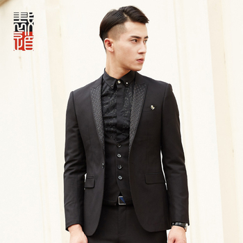 Modern Style Lapel Design All Black Skinny Tuxedo Suit Wedding