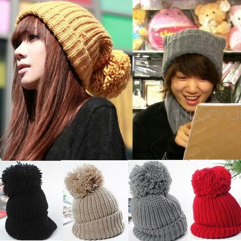 40 корейский стиль прекрасный шерсти вязание крючком мужской головной убор теплая зима шапочка бал 6 цвета шляпа шапка для пар любителей WHM325