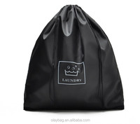 Simple Design 210D Nylon Drawstring Laundry Bag With Printing Logo