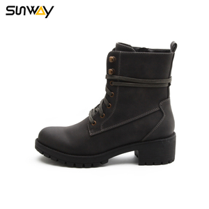 SUNWAY Cheap Winter Waxed Lace Inner Zipper Woman Black Flat Ankle Boots Shoes
