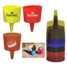 Useful beach vacation recommendation PP plastic red color bottom circular cone insert sand top hollow cylinder drink cup holder