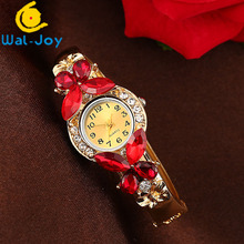 WJ-6529 Vintage Butterfly Crystal Stylish Woman Casual Student Bangle Watch