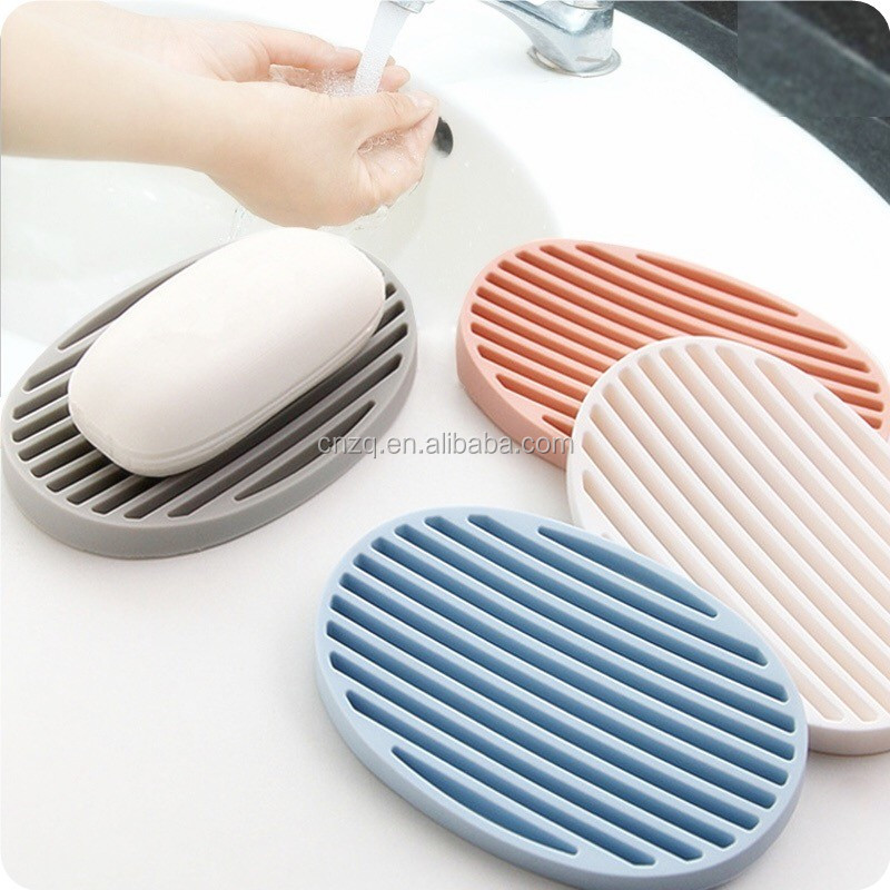 Washable Oval Shape Silicone Shower Soap Dish