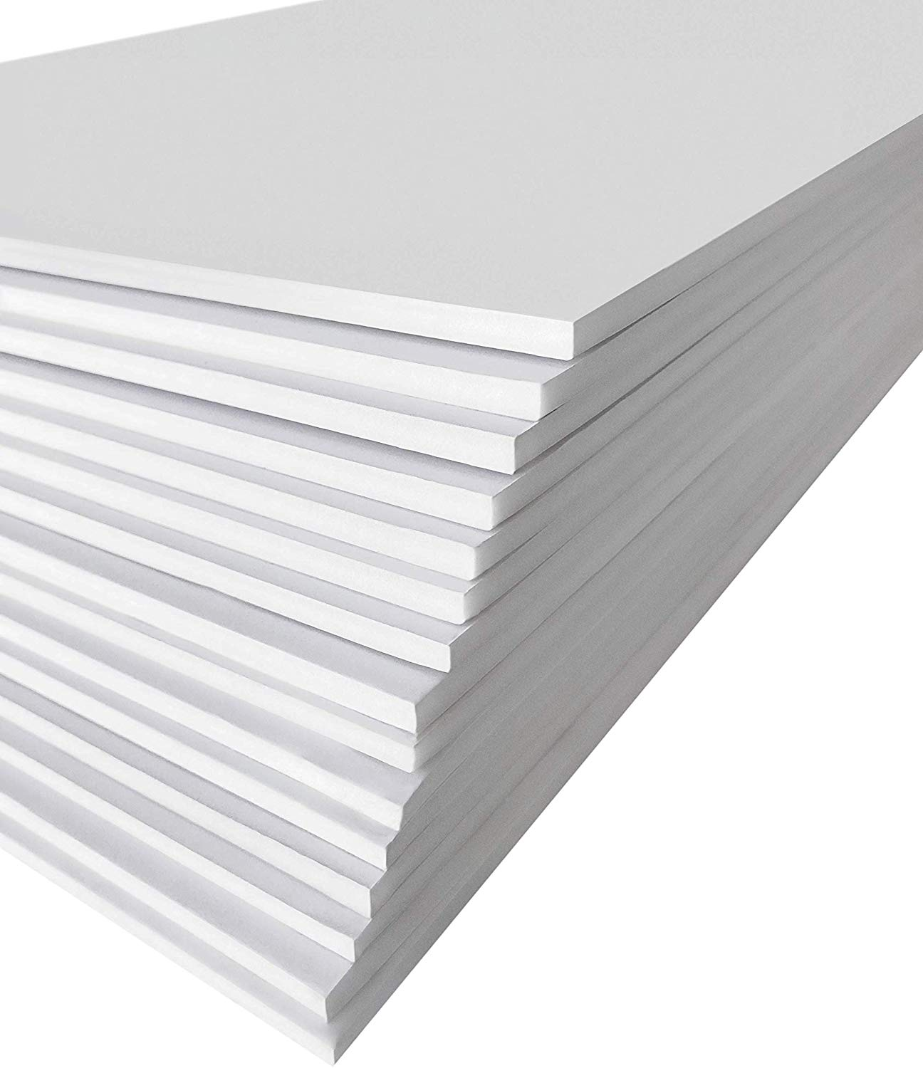 Excelsis Design, Pack of 15, Foam Boards (Acid-Free), 8x10 Inches (Many Sizes Available), 3/16 Inch Thick Mat, White with White Core (Foam Core Backing Boards, Double-Sided Sheets)