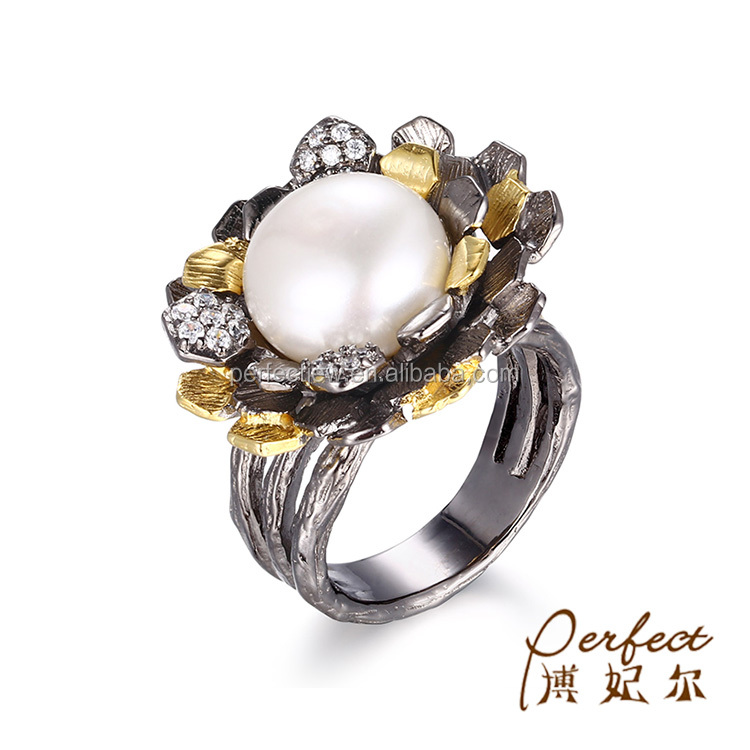 Thailand Flower Gold Plated 925 Sterling Silver Button Pearl Ring For Women