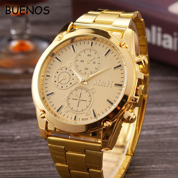 High End Watches >> High End Luxury Three Eyes Dial Gold Stainless Steel Case Back