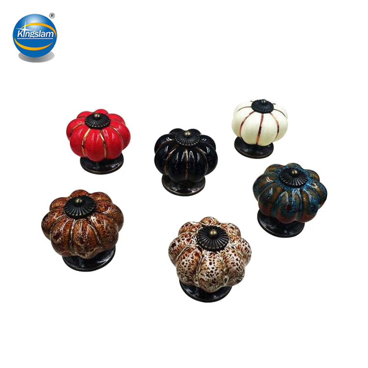 Antique pumpkin ceramic knobs, porcelain drawer pulls KH9008K