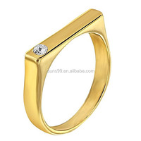 New Design Stainless Steel 14k Gold Plated Clear Square Little Diva Baby Rings For Girls