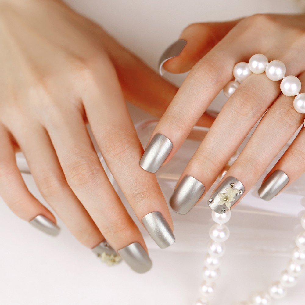 Artplus 24pcs Pearl Silver With Crystals White Flowers False Nails French Manicure Full Cover Long