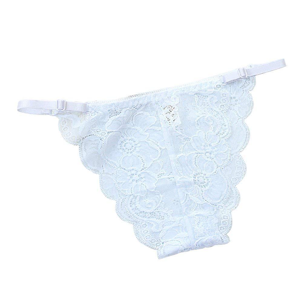 45abc04b4cd Get Quotations · Qinlee Women s Low Waist Underwear Adjustable Soft Lace  Hipster Bikini Panties