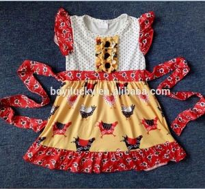 wholesale children's clothing chicken dresses for baby girl fashion kids stylish turkey frocks