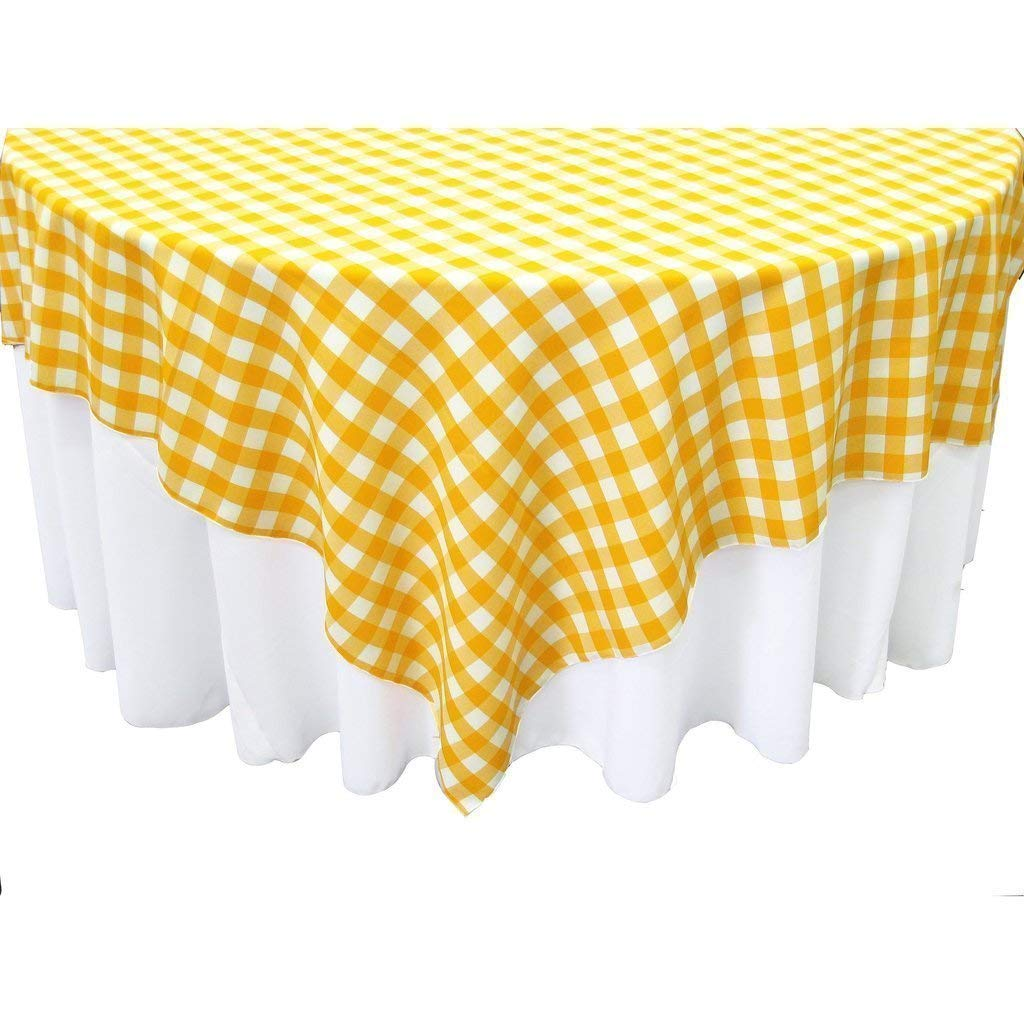 Square 90x90 Inch Checkered Tablecloth By Runner Linens Factory (Lt Yellow  U0026 White)