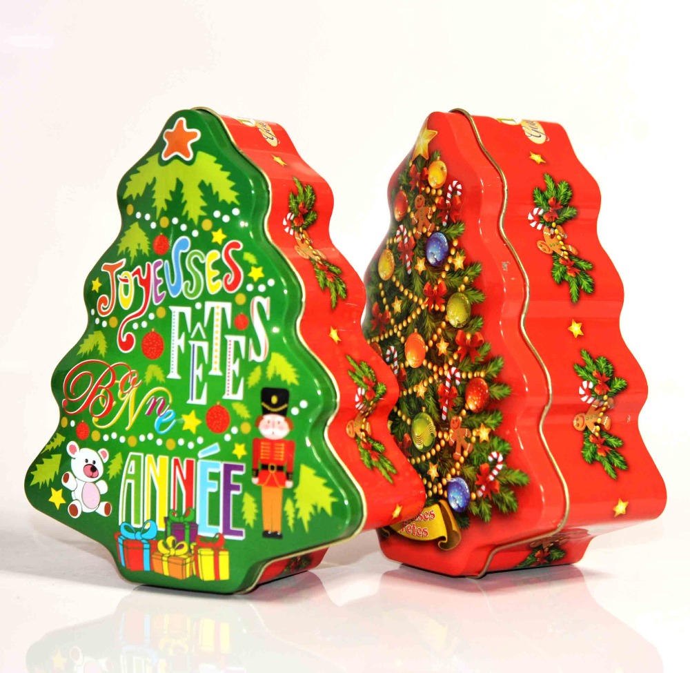 Christmas gift tree shaped decor tin ornaments food grade box as xmas promotional shoes for hanging decorative metal stars sedex