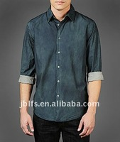 Western men's long sleeves fashion casual solid pigment dyed classic fit shirt