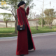 Islamic Elegant front open dark red wool abaya coat women for winter full length long sleeve Islamic Maxi Dress Wholesale