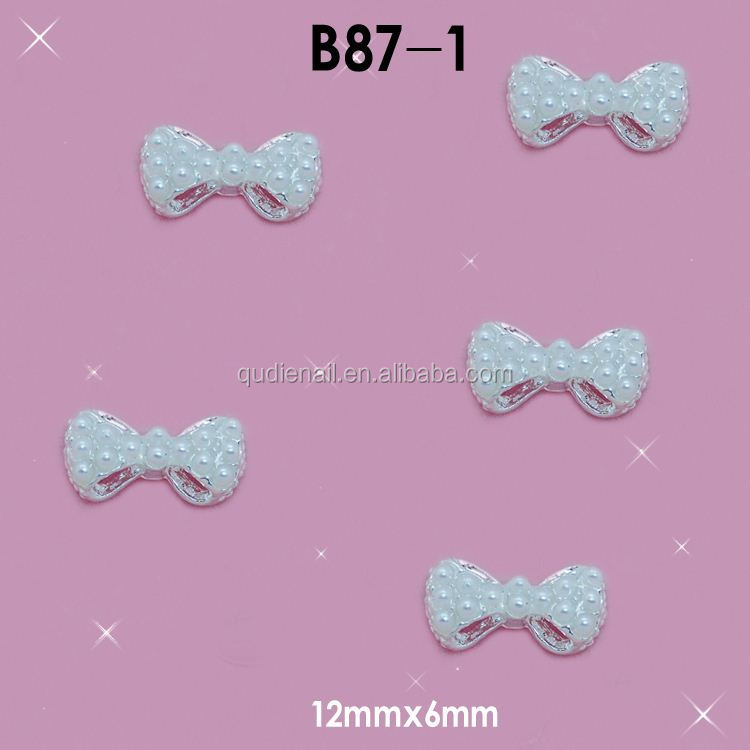 Hot Alloy 3D Pearls Bow Nail Decals