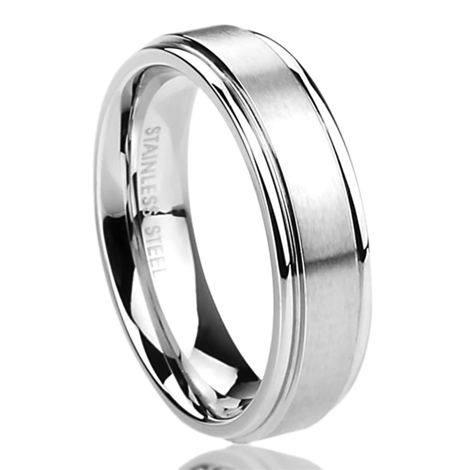 Prime Pristine 6MM Stainless Steel Mens Womens Rings Brushed Center Classy Comfort Fit Wedding Bands