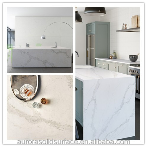 Natural Look Calacatta White Quartz Stone Slabs