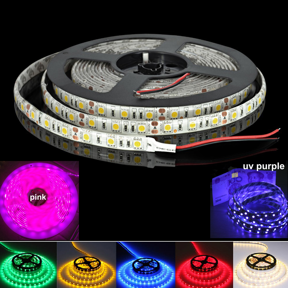dc 12v led strip 5050 smd flexible tape ribbon lamp 60led m 5m rgb pink purple uv ultraviolet. Black Bedroom Furniture Sets. Home Design Ideas