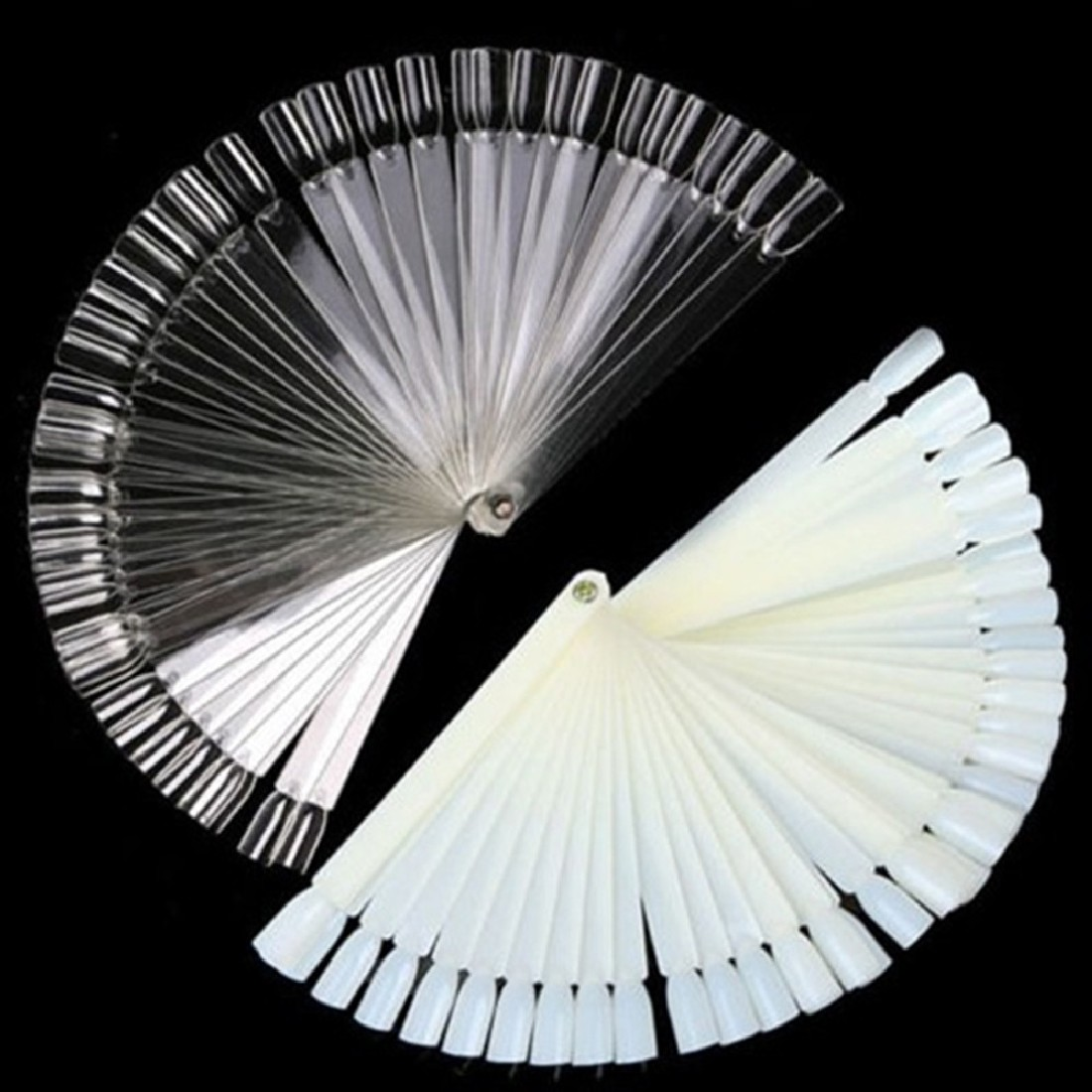 2016 hot sale False Clear Nail Art Tips Board Sticks Polish Display Fan Practice Tool 50pcs
