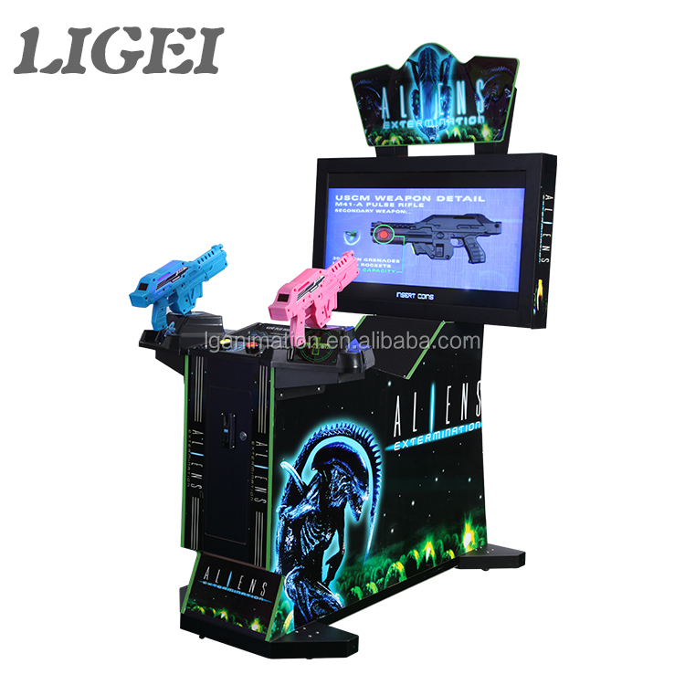LIGEI factory price 2 player simulator shooting arcade 42 LCD aliens extermination game machine