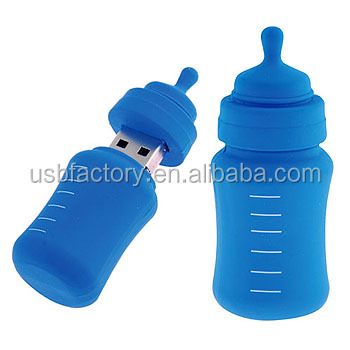 Blue baby Milk bottle shape USB Flash Drive, Baby Bottle USB keys 2gb 4gb, PVC baby's bottle usb for promotional memory