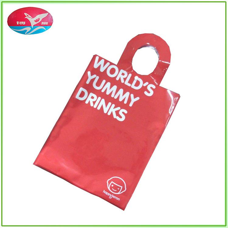 卸売パッチハンドルプラスチックショッピング包装袋と独自のロゴ
