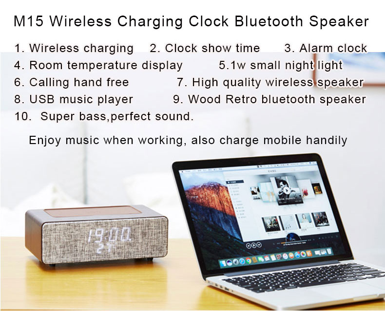 Multi jbls wireless bluetooth pa speaker magnet with wireless charge and alarm clock bluetooths speaker