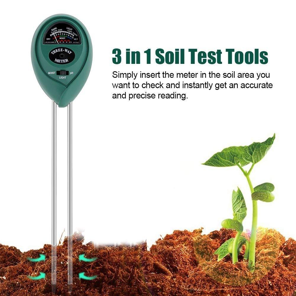 Delaman Soil Tester 3in1 Soil PH Meter/Moisture/Light Meter, Soil Test Kit for Garden