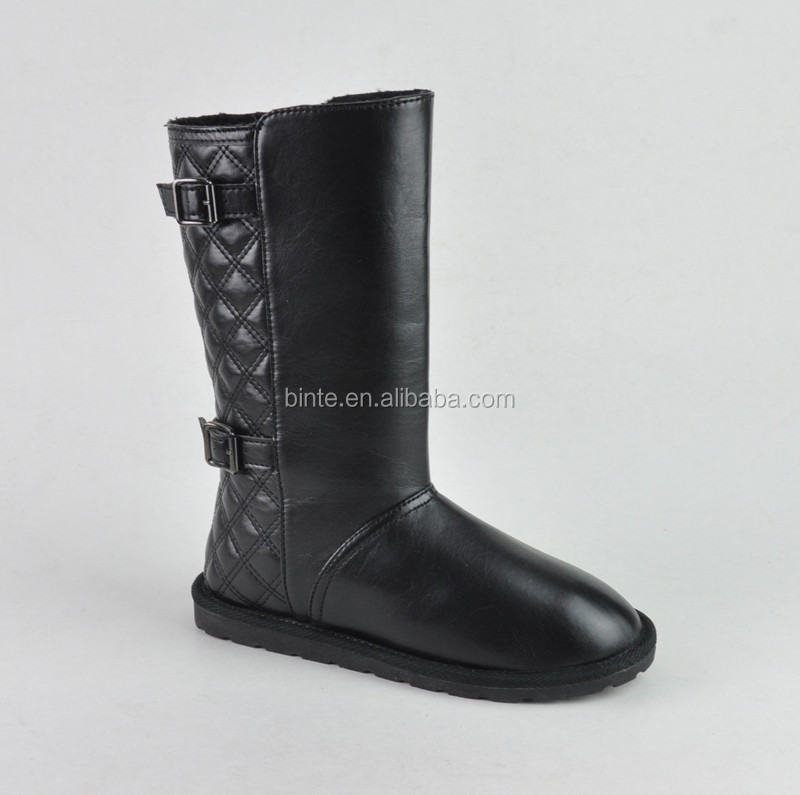 Leather upper fur lined 2015 fashion mens winter boots