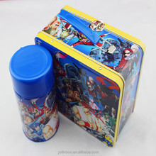 Wholesale Custom Printing Thermos Metal Food Tin Can Lunch Handle Tin Box