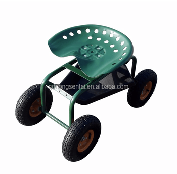 garden seat on wheels. Rolling Four Wheels Garden Trolley Seat With Tools Tray On