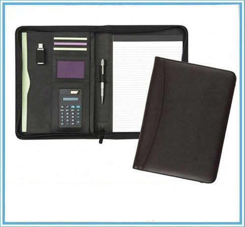 pu leather portfolio folder / a5 ring binder file folders with customized logo / 2 pocket folder for promotion in 2014