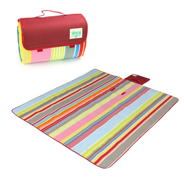 custom outdoor compact waterproof foldable polar fleece picnic blanket