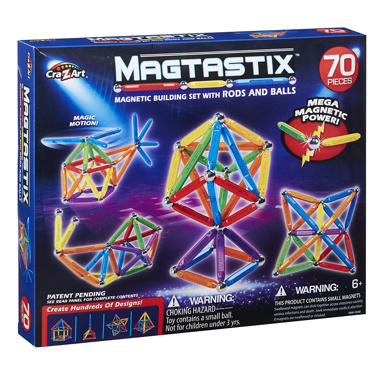 Cra-Z-Art Magtastix 70 Piece Balls and Rods Building-and-Stacking-Toys