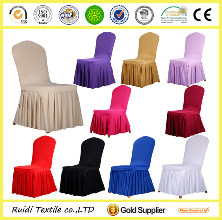 2016 latest wedding decoration ruffled pleat spandex chair covers