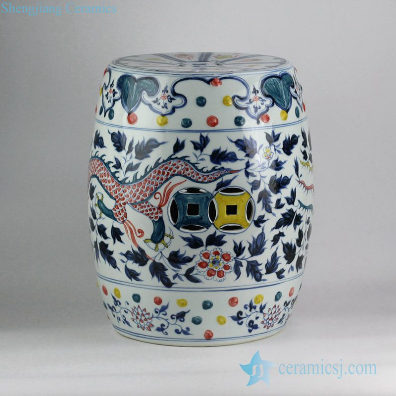 RYNQ202 Colored intersperse blue and white hand paint China dragon and phoenix pattern wedding ceramic stool