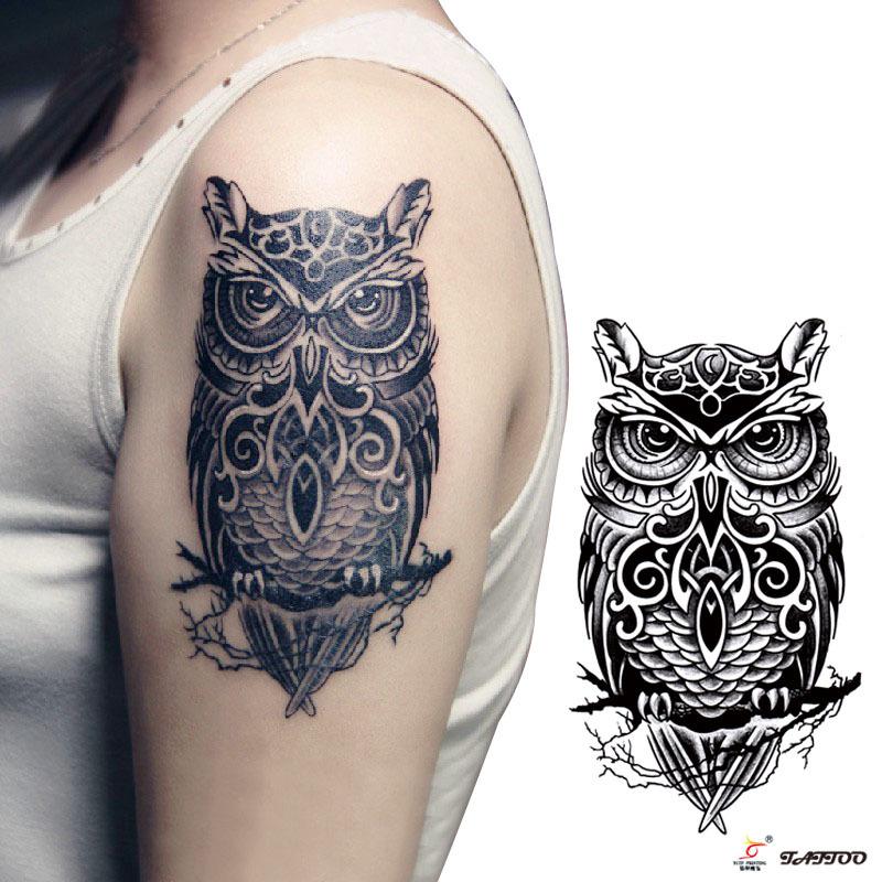 Womens Temporary Tattoos: Temporary-tattoos-large-black-owl-arm-fake-transfer-tattoo