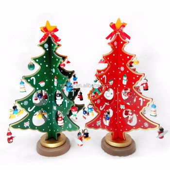 christmas creative cartoon wooden redgreen small christmas tree ornaments holiday decorations - Mini Christmas Tree Ornaments