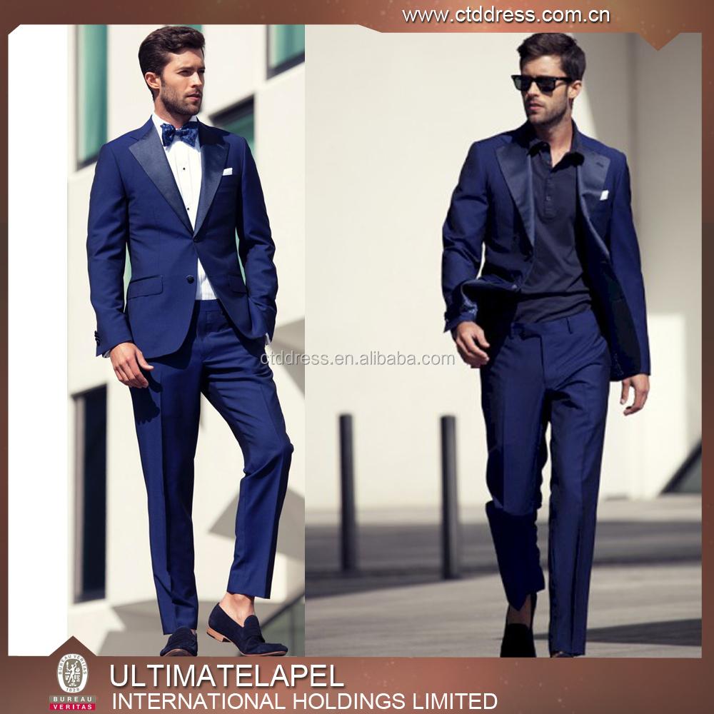New Style Custom Tailored Royal Blue Coat Pant Tuxedo Suits 2016