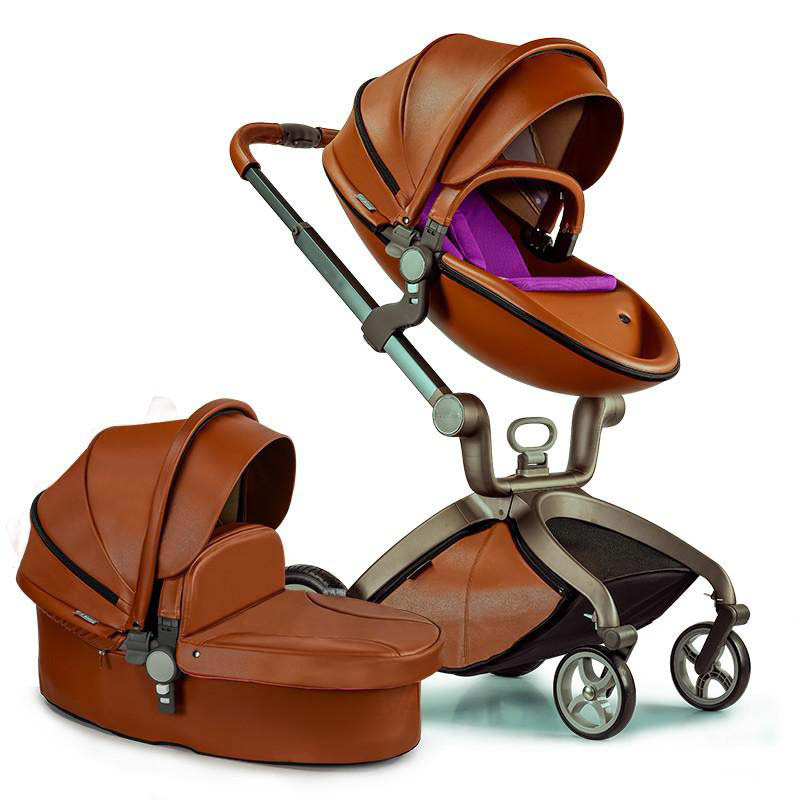 leather baby stroller 3 in 1 pram car seat