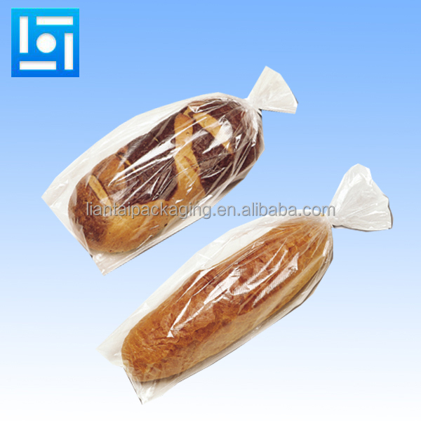Food grade custom made design printed poly clear cellophane bread plastic bag for take out hamburger packing