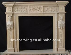 natural marble fire place